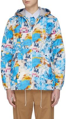 Comme des Garçons Shirt x Futura printed fleece lined hooded jacket