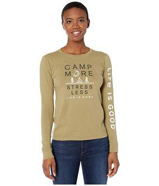 Life is Good Camp More Stress Less Long Sleeve Crusher Tee (Fatigue Green) Women's Clothing