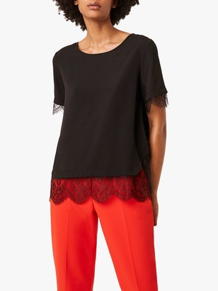 French Connection Chika Lace Sleeve Tee, Black