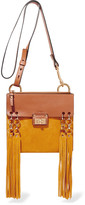 Chloé Jane small fringed leather and suede shoulder bag