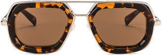 Dries Van Noten Rectangle Sunglasses in Silver & Rust Tortoise | FWRD