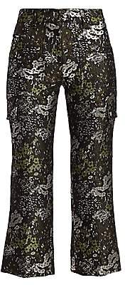 Michael Kors Women's Jacquard Floral Cropped Flare Cargo Pants