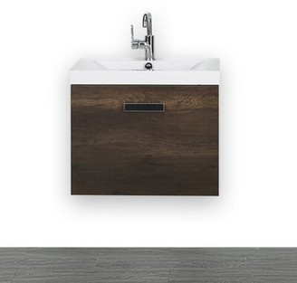 "24"" Wall-Mounted Single Bathroom Vanity Set Streamline Bath"