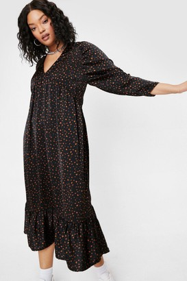 Nasty Gal Womens Plus Size Spotty Print V Neck Midi Dress - Black