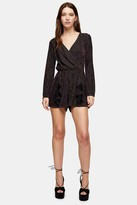 Topshop Black and Gold Glitter Stripe Playsuit