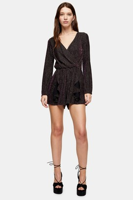 Topshop Womens Black And Gold Glitter Stripe Playsuit - Black