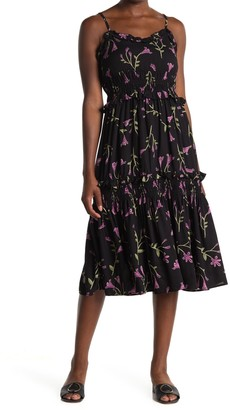 Angie Floral Smocked Tiered Midi Dress
