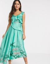 Liquorish cami midi dress with ruffle detail in placement tiger print