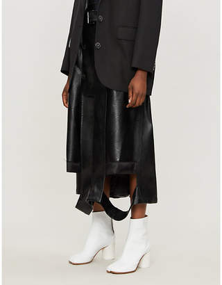Maison Margiela Double-breasted raw-trim faux-leather skirt