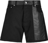 McQ by Alexander McQueen Faux leather-paneled denim shorts