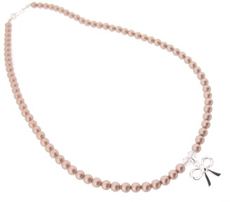 Swarovski Chic A Boo Crystal Mink Pearl and Sterling Silver Bow Necklace of Length 35cm