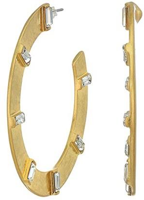 Sole Society Sole / Society SOLE / SOCIETY Large Hoops Earrings (12K Soft Polish Gold/Crystal) Earring