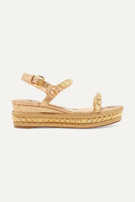 Christian Louboutin Pyradiams 60 Spiked Lame Wedge Sandals - Gold