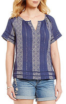 Lucky Brand Short Sleeve Embroidered Lurex Woven Peasant Top