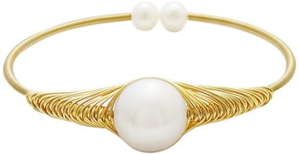 Savvy Cie 18K Gold Plated Wrapped Freshwater Pearl Bangle Bracelet