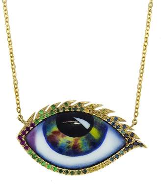 Lito Fine Jewelry Large Multi-Color Enamel Evil Eye Necklace - Yellow Gold