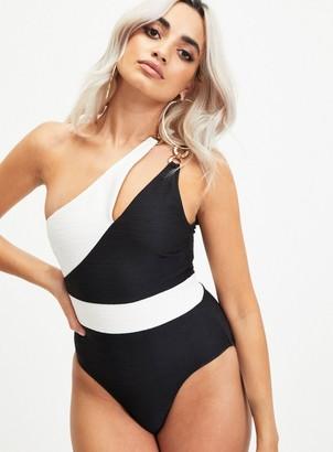 Miss Selfridge Black Textured Asymmetric Swimsuit