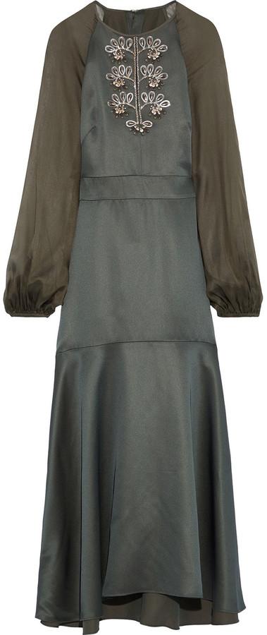 Temperley London Nile Chiffon-paneled Embellished Satin-crepe Midi Dress