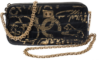 Chanel Black/Gold Croc Embossed Leather Graffiti Reissue WOC