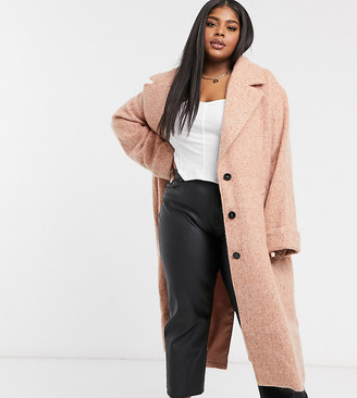 ASOS DESIGN Curve batwing textured slouchy oversized coat in pink
