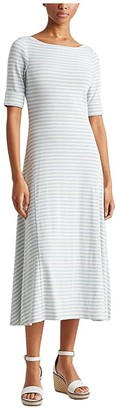 Lauren Ralph Lauren Petite Striped Cotton-Blend Maxi Dress (Soft Indigo/Mascarpone Cream) Women's Clothing