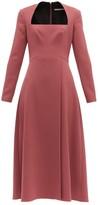 Emilia Wickstead Glenda Square-neckline Wool-crepe Midi Dress - Womens - Dark Pink