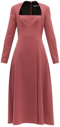 Emilia Wickstead Glenda Square-neckline Wool-crepe Midi Dress - Dark Pink