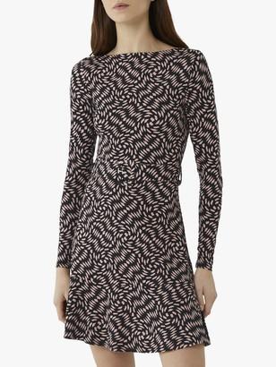 Warehouse Diamond Print Slash Neck Mini Dress, Black Pattern