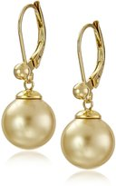 Majorica 10mm Round Champagne Pearl Euro wire Drop Earrings