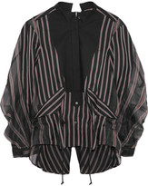 Sacai Open-back Cotton Piqué-paneled Striped Twill And Silk-organza Shirt - Black