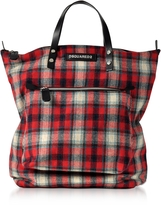 DSQUARED2 Red Wool Blend Check Hiro Men's Tote Bag
