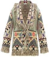 Etro Gardenia Geometric-jacquard Wool-blend Cardigan - Womens - Green Multi