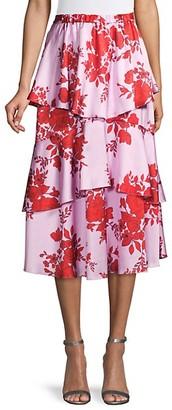 ML Monique Lhuillier Tiered Floral Midi Skirt