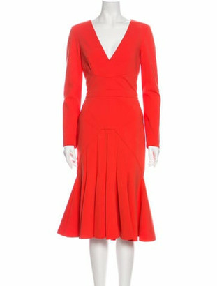 J. Mendel V-Neck Midi Length Dress Orange