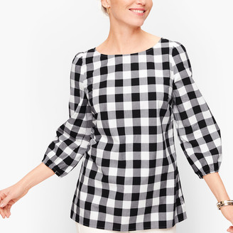 Talbots Gingham Gathered Sleeve Top