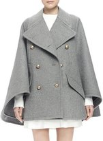 Chloé Double-Breasted Cape Coat, Gray