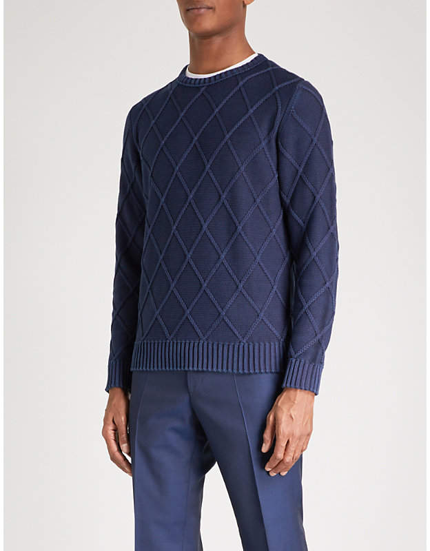 Canali Patterned cable-knit cotton jumper
