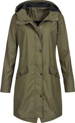 LOPILY Autumn Hooded Jacket Windproof Overcoat Waterproof Coat Active Outdoor Trendy Monochrome Jacket Coat Solid Rains Outwear(Army Green UK: 20/CN:4XL)