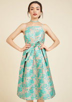 ModCloth Penchant for Opulence A-Line Dress in Aqua Blossoms in XXS