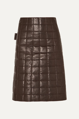 Bottega Veneta Quilted Leather Skirt - Brown