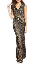 Decode 1.8 V-Neck Illusion Lace Gown
