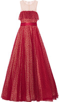 Jenny Packham Ruffle-trimmed Flocked Tulle Gown - Claret