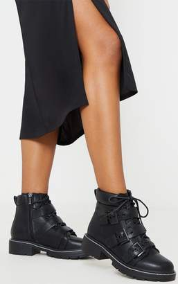 PrettyLittleThing Black Chain Sole Cleated Buckle Detail Lace Up Ankle Boot