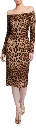 Dolce & Gabbana Off-the-Shoulder Leopard Print Bodycon Dress