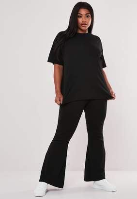 Missguided Plus Size Black Rib T Shirt And Wide Leg Co Ord Set