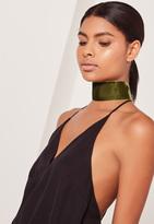 Missguided Wide Velvet Choker Necklace Khaki