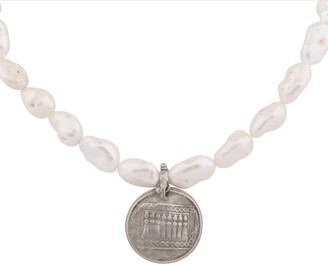 Carousel Jewels Antique Silver Coin & Baroque Pearl Necklace