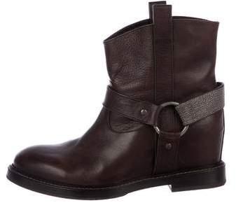 Brunello Cucinelli Leather Monili-Trimmed Boots