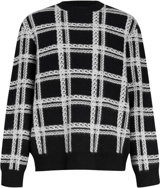 AllSaints Lockdown Plaid Wool Blend Crewneck Sweater