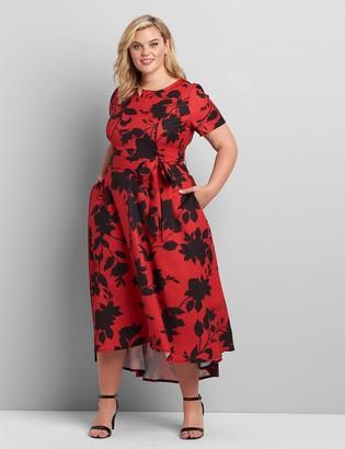 Lane Bryant Printed Lena High-Low Midi Dress